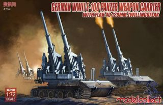 German WWII E-100 Panzer Weapon Carrier with Flak 40 128 mm Zwillingsflak 1/72 [ModelCollect]