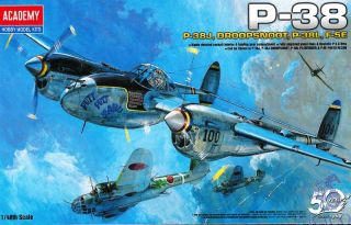 P-38 Combination Version (P-38J, Droopsnoot, P-38L, F-5E) 1/48 [Academy]