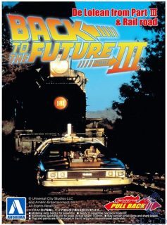 Back To The Future III - Delorean From Part III & Rail road - Pullback 1/43 [Aoshima]
