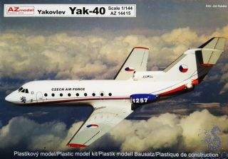 Jakovlev Jak-40 (Yakovlev Yak-40) Military – CZAF, PL, Angola 1/144 [AZmodel]