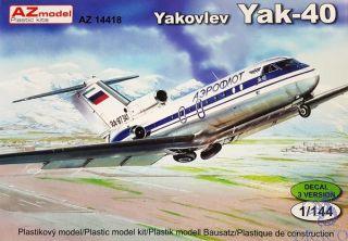 Jakovlev Jak-40 (Yakovlev Yak-40) Aeroflot, Lybia, ČSA 1/144 [AZmodel]
