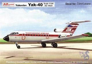 Jakovlev Jak-40 (Yakovlev Yak-40) ČSA,Cubana 1/144 [AZmodel]