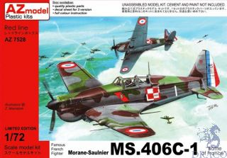 """Famous French Fighter Morane-Saulnier MS.406C-1 """"Battle of France"""" Limited Edition 1/72 [AZmodel]"""