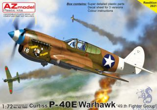 """Curtiss P-40E Warhawk """"49th Fighter Group"""" 1/72 [AZmodel]"""