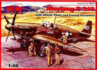 Mustang P-51B w/Pilot & Crew 1/48 [ICM]