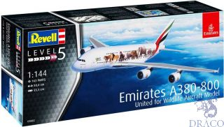 Emirates A380-800 United for Wildlife Aircraft Model 1/144 [Revell]
