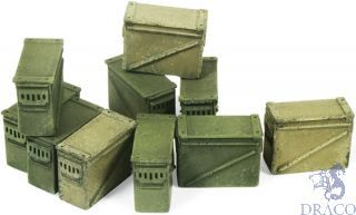 Vallejo Diorama Accessories 221: Large Ammo Boxes 12,7 mm. (10 pcs.) 1/35