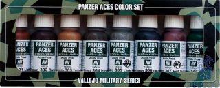 Vallejo Panzer Aces Color Set No 1: Rust, Tracks, Rubber (8 colors)