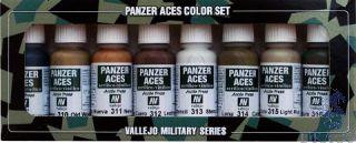 Vallejo Panzer Aces Color Set No 2: Wood, Leather, Stencil (8 colors)