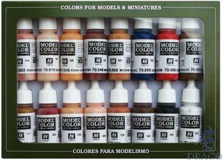 Vallejo Model Color Set 125: Face & Skin Tones (16 colors)