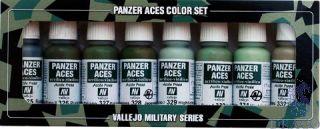 Vallejo Panzer Aces Color Set No 4: USSR, IT, JAP Crew Uniforms (8 colors)