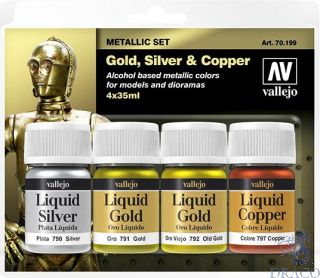 Vallejo Metallic Set: Gold, Silver & Copper (4 colors x 35ml)