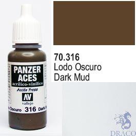 Vallejo Panzer Aces 316: Dark Mud 17 ml.