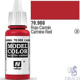 Vallejo 030: Modelcolor 908: Carmine Red 17 ml.