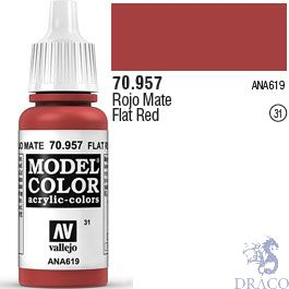 Vallejo 031: Modelcolor 957: Flat Red 17 ml.