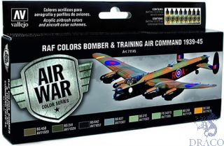 Vallejo Model Air Set 145: RAF Colors Bomber & Training Air Command 1939-1945 (8 colors)