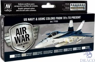 Vallejo Model Air Set 155: US Navy & USMC Colors from 70s to Present (8 colors)