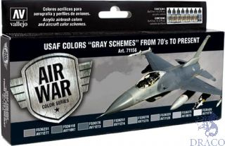 "Vallejo Model Air Set 156: USAF Colors ""Gray Schemes"" from 70s to present (8 colors)"
