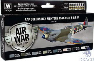 Vallejo Model Air Set 162: RAF Colors Day Fighters 1941-1945 & P.R.U. (8 colors)