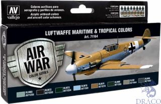 Vallejo Model Air Set 164: Luftwaffe Maritime and Tropical Colors (8 colors)
