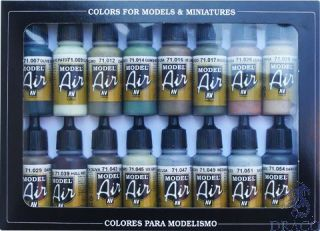 Vallejo Model Air Set 180: WWII Allied Colors (16 colors)