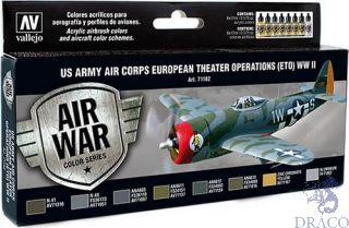 Vallejo Model Air Set 182: US Army Air Corps European Theater Operations (ETO) WWII (8 colors)