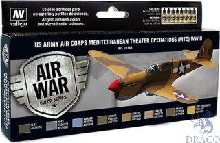 Vallejo Model Air Set 183: US Army Air Corps Mediterranean Theater Operations (MTO) WWII (8 colors)