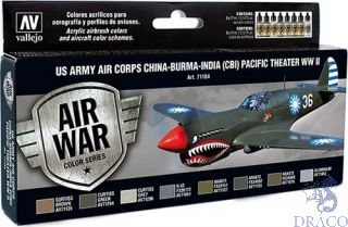 Vallejo Model Air Set 184: US Army Air Corps China-Burma-India Pacific Theater (CBI) WWII (8 colors)