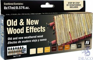 Vallejo Model Air Set 187: Old & New Wood Effects (8 colors)