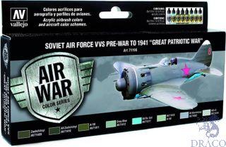 "Vallejo Model Air Set 196: Soviet Air Force VVS Pre-War to 1941 ""Great Patriotic War"" (8 colors)"