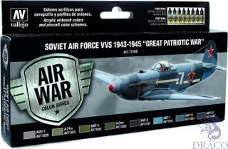 "Vallejo Model Air Set 198: Soviet Air Force VVS 1943 to 1945 ""Great Patriotic War"" (8 colors)"
