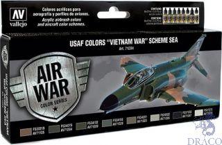 Vallejo Model Air Set 204: USAF Colors Vietnam War Scheme SEA South East Asia (8 colors)