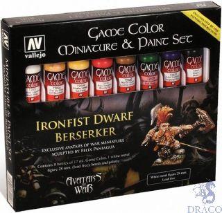 Vallejo Game Color Set 211: Ironfist Dwarf Berseker (8 colors, Brush, Metal Figure, Palette)