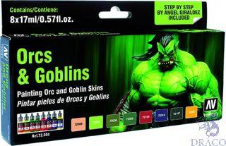 Vallejo Game Color Set 304: Orcs & Goblins  by Angel Giraldez (8 colors)