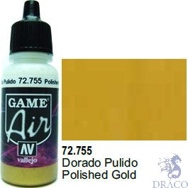 Vallejo Game Air 755: 17 ml. Polished Gold
