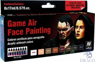 Vallejo Game Air Set 865: Face Painting Set by Angel Giraldez (8 colors)
