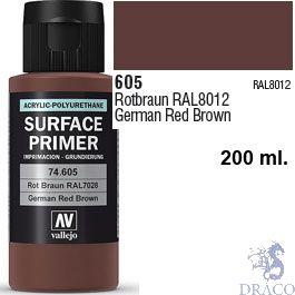 Vallejo Acrylic Polyurethane Primer - German Red Brown 200 ml.