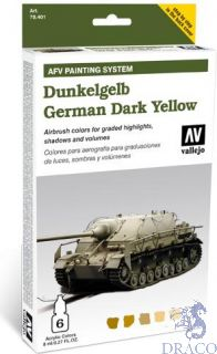 Vallejo German Dark Yellow AFV Armour Painting System (6 colors 8ml.)