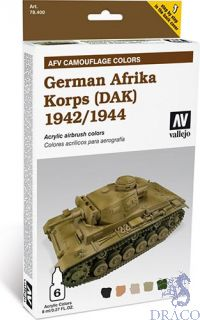 Vallejo German Afrika Korps 1942/1944 AFV Camouflage Colors (6 colors 8ml.)