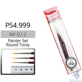 Vallejo Brush Series P510 / P54 - Round Toray Painter Set (Nº 0, 1, 2)