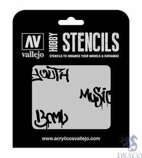 Vallejo Hobby Stencils LET003: Street Art nº 1 1/35