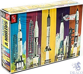 Man in Space Rocket Set with Saturn V Rocket and Apolo Spacecraft 1/200 [AMT]