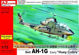 """Famous Attack Helicopter Bell AH-1G Early """"Huey Cobra"""" Over Vietnam 1/72 [AZmodel]"""