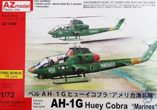 """Famous Attack Helicopter AH-1G Huey Cobra """"Marines"""" 1/72 [AZmodel]"""
