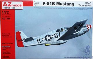 """American Famous Fighter P-51B Mustang USAF """"Dorsal Fin"""" 1/72 [AZmodel]"""