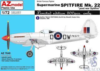 """British Famous Fighter Supermarine Spitfire Mk.22 """"Postwar Spitfire"""" Limited Edition 1/72 [AZmodel]"""