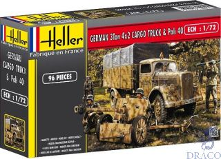 German 3 ton 4x2 Cargo Truck & Pack 40 1/72 [Heller]