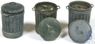 Vallejo Diorama Accessories 212: Garbage Bins #1 (3 pcs.) 1/35