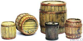 Vallejo Diorama Accessories 225: Wooden Barrels (5 pcs.) 1/35