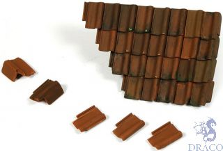 Vallejo Diorama Accessories 230: Damaged Roof Section and Tiles (12 pcs.) 1/35